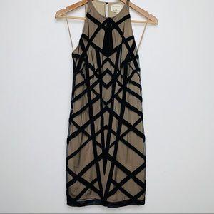 Nicole Miller Artelier Nude Dress with Black Suede